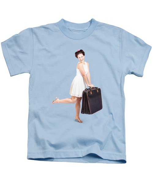 Pinup Model Doing A Hop And Skip With Travel Case Kids T-Shirt