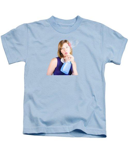 Pinup Woman Washing Clean Blue Window Copyspace Kids T-Shirt