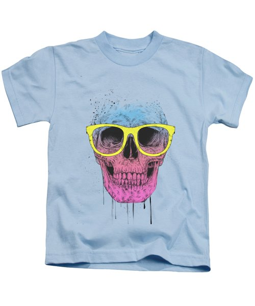 Pop Art Skull With Glasses Kids T-Shirt