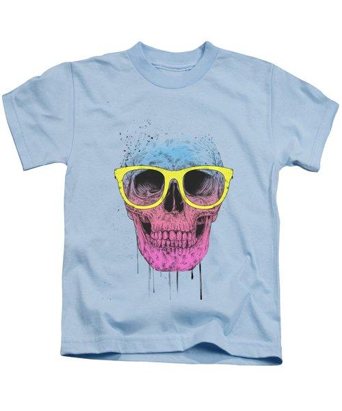 Pop Art Skull With Glasses Kids T-Shirt