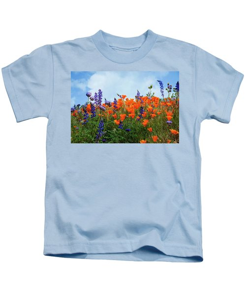 Poppies And Lupines Against A Beautiful Blue Sky Kids T-Shirt