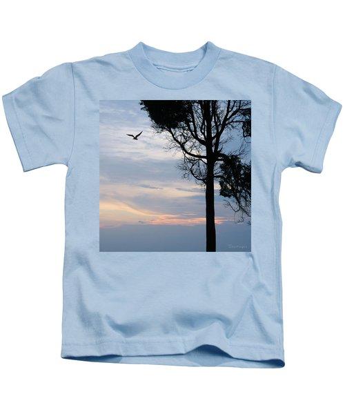 Seagull Sunset At Catawba Kids T-Shirt