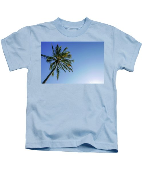 Shades Of Blue And A Palm Tree Kids T-Shirt