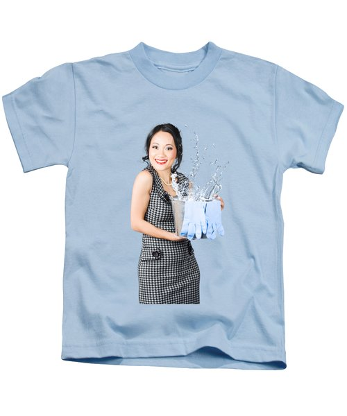 Smiling Female Cleaner Ready To Start Housework Kids T-Shirt