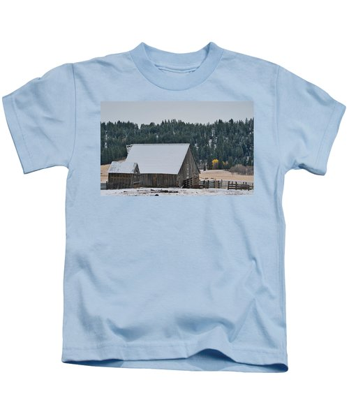 Snowy Barn Yellow Tree Kids T-Shirt