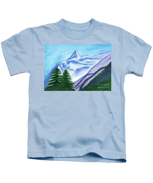 Two Mountain Spruce Against The Backdrop Of Snow-capped Peak Kids T-Shirt