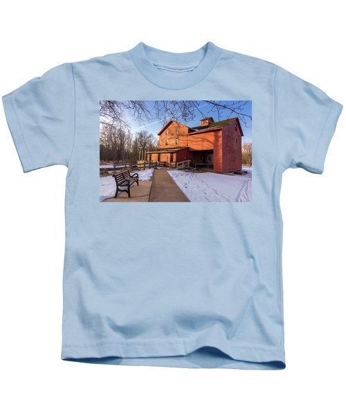 Sunny Winter Day At Bonneyville Mill Kids T-Shirt