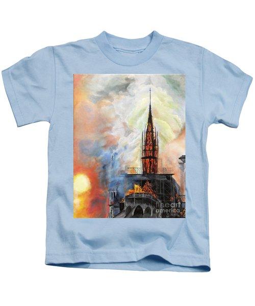 Sunset On Notre Dame Kids T-Shirt