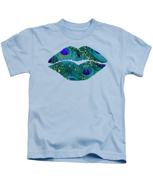 Teal Peacock Lips Kissing Mouth Fashion Art Kids T-Shirt
