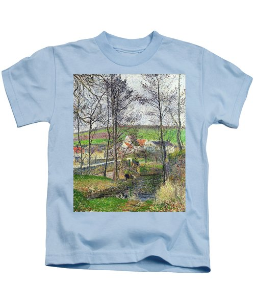 The Banks Of The Viosne At Osny In Grey Weather, Winter - Digital Remastered Edition Kids T-Shirt