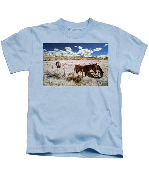 Three Horses In Colorado Kids T-Shirt