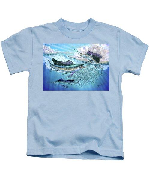 Three Sailfish And Bait Ball Kids T-Shirt