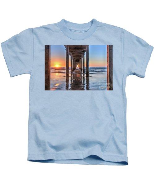 Under Scripps Pier At Sunset  ..autographed.. Kids T-Shirt
