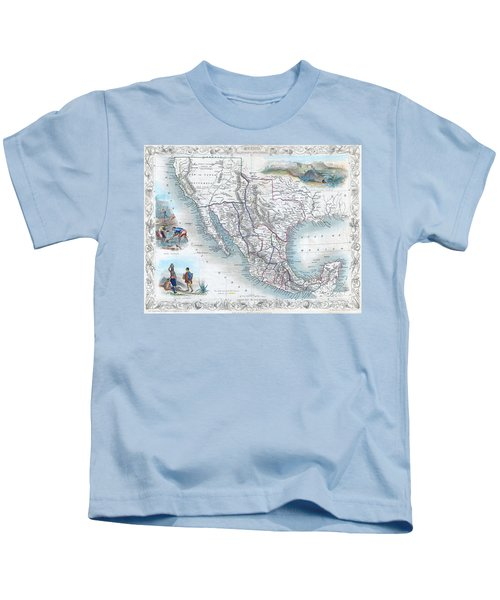 Vingage Map Of Texas, California And Mexico Kids T-Shirt