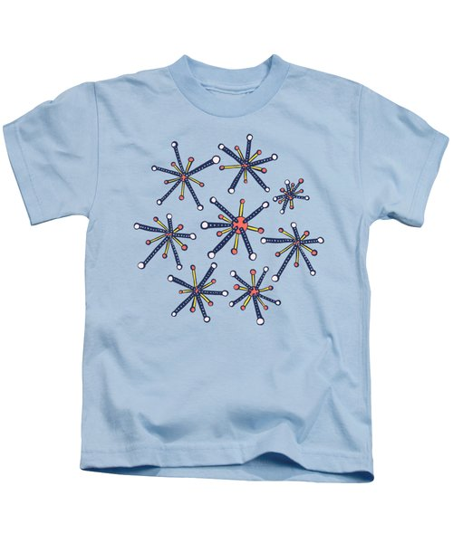 Virus Pattern Resembling Molecules - Retro Modern Microbiology Fun Kids T-Shirt
