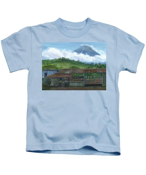 Volcano Agua, Guatemala, With Fruit Stand Kids T-Shirt