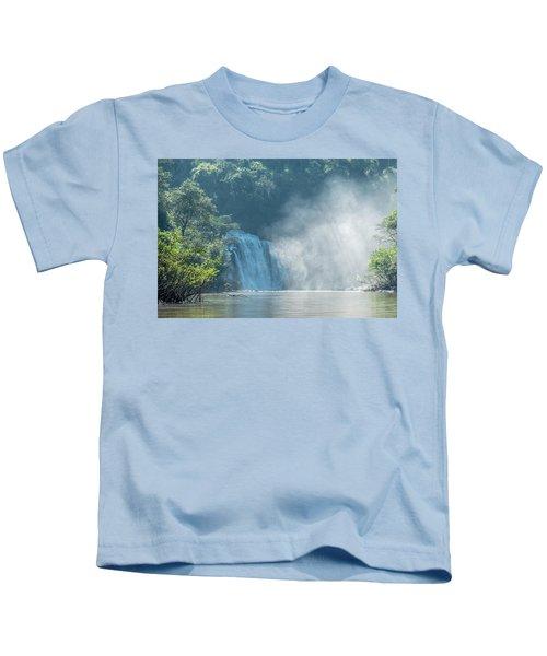 Waterfall, Sunlight And Mist Kids T-Shirt