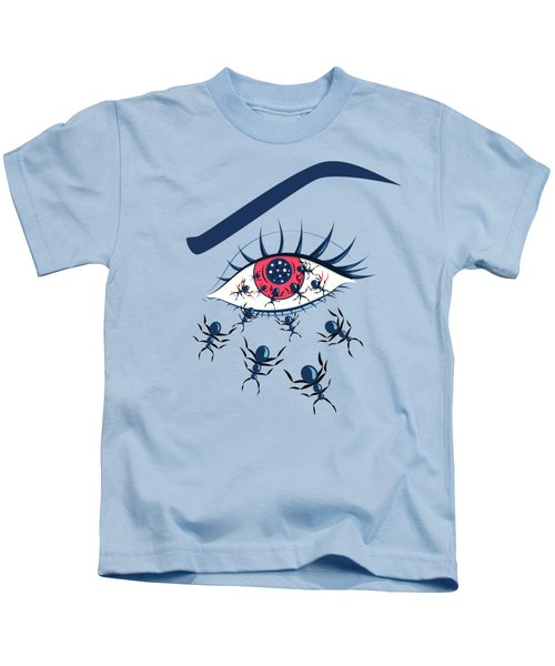 Weird Creepy Red Eye With Crawling Ants Kids T-Shirt