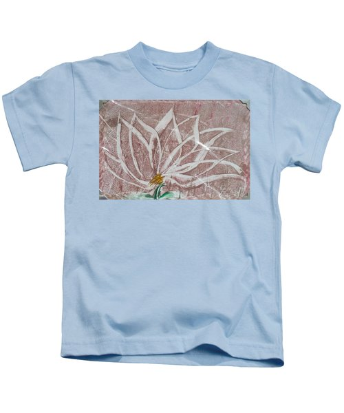 White Abstract Floral On Silverpastel Pink Kids T-Shirt