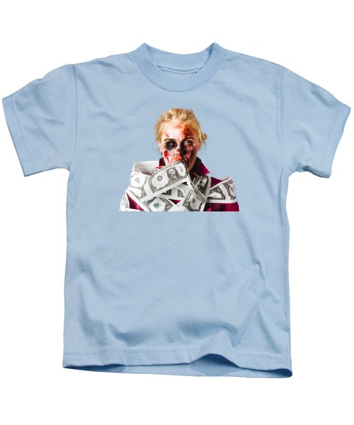 Worried Zombie With Dollar Bills Kids T-Shirt