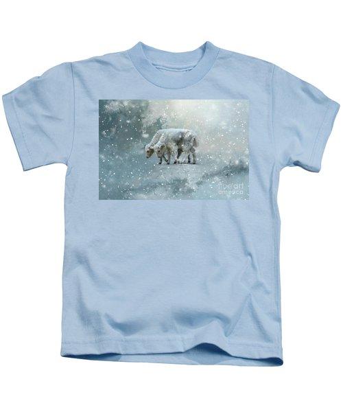 Yaks Calves In A Snowstorm Kids T-Shirt