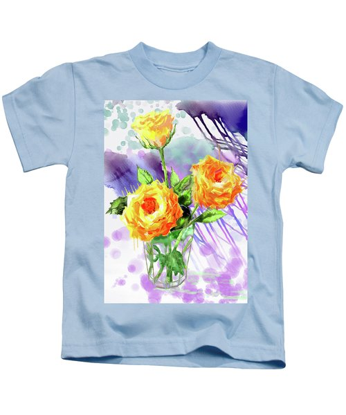 Yellow Roses In A Glass Kids T-Shirt