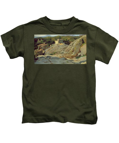 A Village In The Mountains Kids T-Shirt