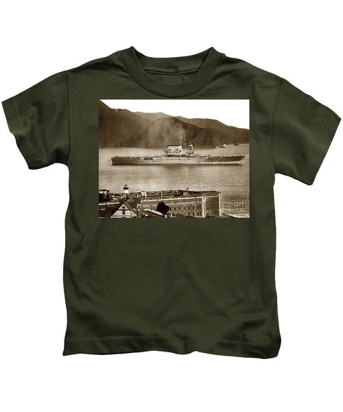 U. S. S. Lexington Cv-2 Fort Point Golden Gate San Francisco Bay California 1928 Kids T-Shirt