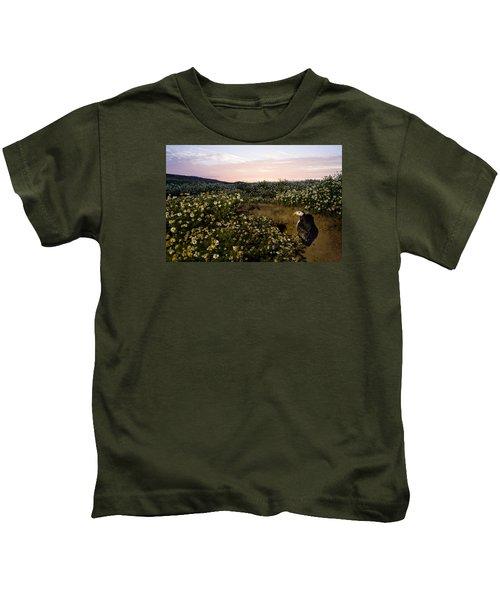 Atlantic Puffin At Burrow Skomer Island Kids T-Shirt by Sebastian Kennerknecht