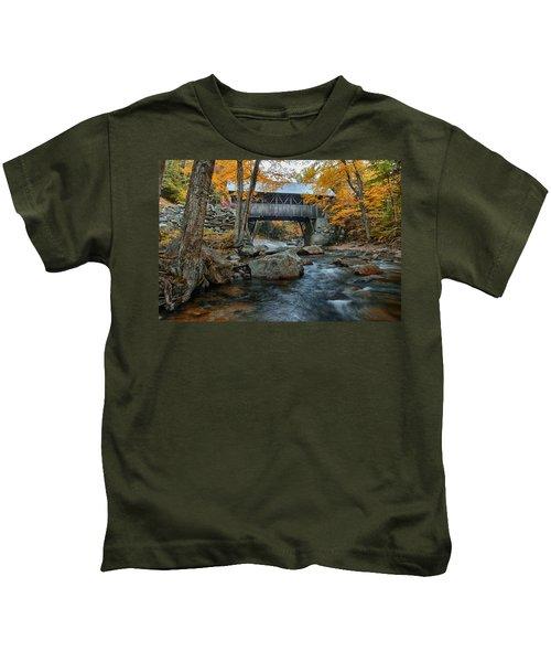 Flume Gorge Covered Bridge Kids T-Shirt
