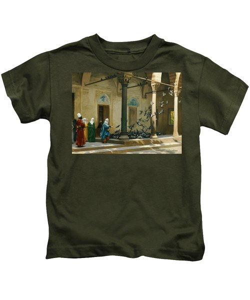 Harem Women Feeding Pigeons In A Courtyard Kids T-Shirt