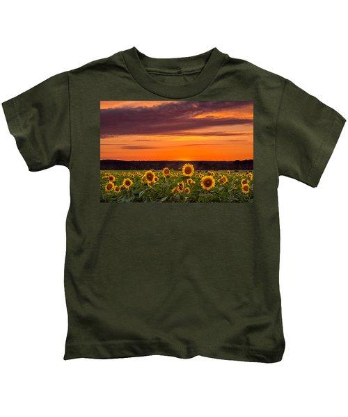 Sunset Over Sunflowers Kids T-Shirt