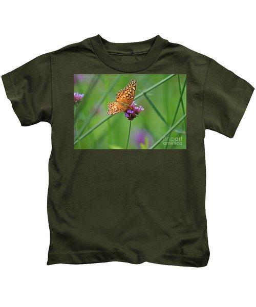 Variegated Fritillary Butterfly In Field Kids T-Shirt
