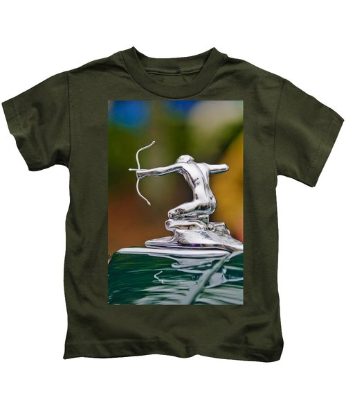 Kids T-Shirt featuring the photograph 1935 Pierce-arrow 845 Coupe Hood Ornament by Jill Reger