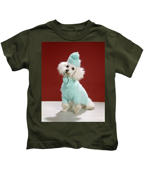 1970s White Poodle Wearing Blue Sweater Kids T-Shirt