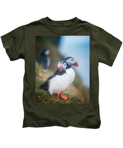 Atlantic Puffins Fratercula Arctica Kids T-Shirt by Panoramic Images
