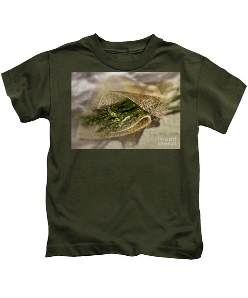 Green Asparagus On Burlab Kids T-Shirt by Iris Richardson