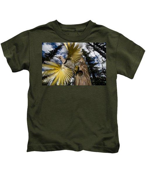 Northern Flicker Leaving Nest Cavity Kids T-Shirt