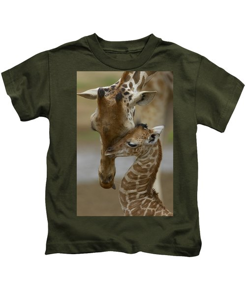Rothschild Giraffe And Calf Kids T-Shirt