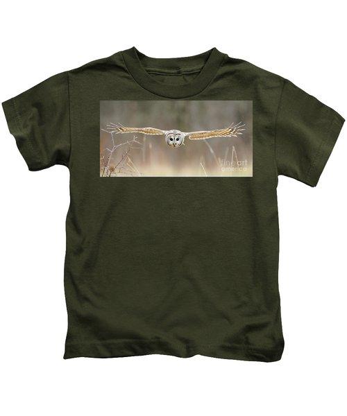 Barred Owl In Flight Kids T-Shirt
