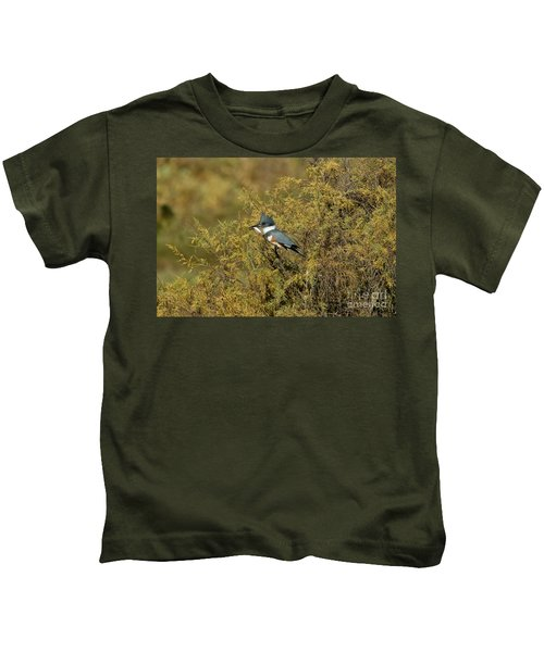 Belted Kingfisher With Fish Kids T-Shirt by Anthony Mercieca