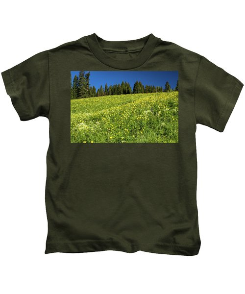 Scenic View Of Wildflowers In A Field Kids T-Shirt