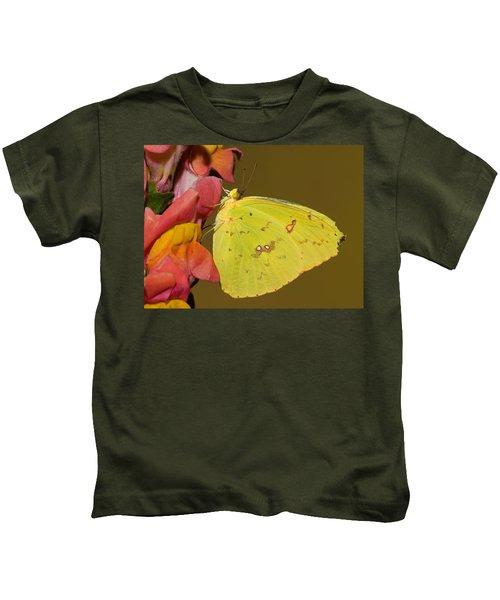 Orange Barred Sulfur Butterfly Kids T-Shirt