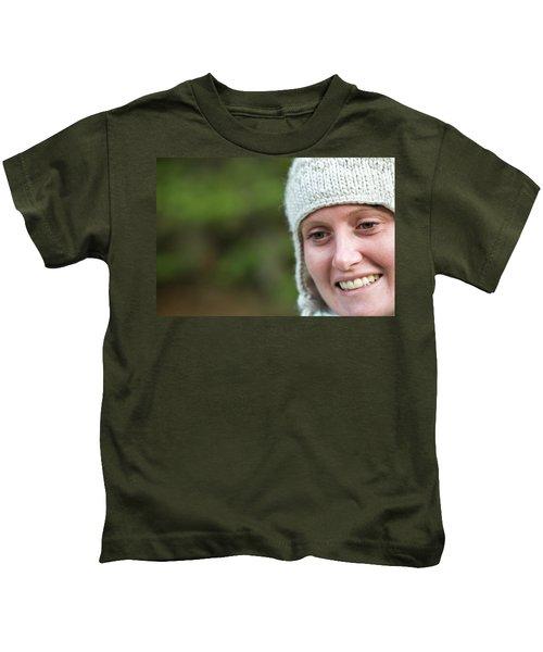 A Close Up Of A Woman Wearing A Knit Kids T-Shirt