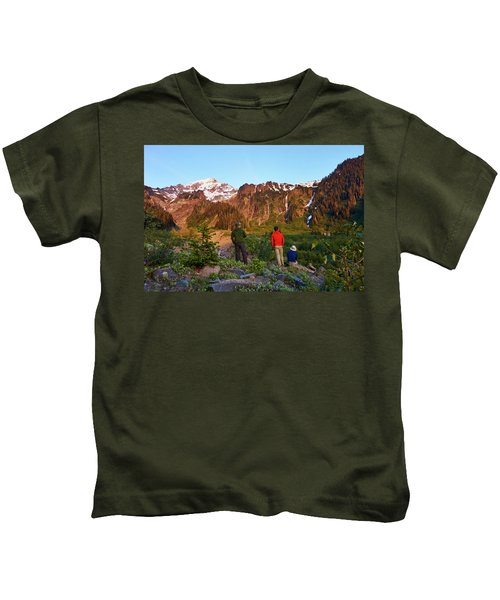 A Group Of Hikers Take In The Sunset Kids T-Shirt