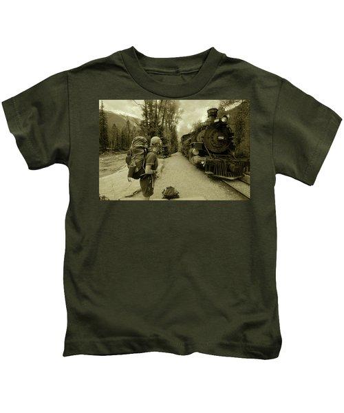 A Hiker Waits To Board The Train Kids T-Shirt