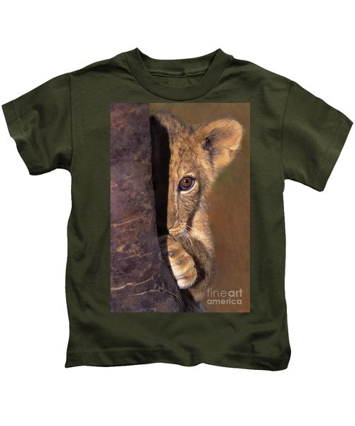 A Lion Cub Plays Hide And Seek Wildlife Rescue Kids T-Shirt