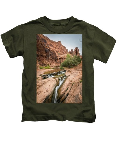 A Waterfall In A Desert Canyon Kids T-Shirt