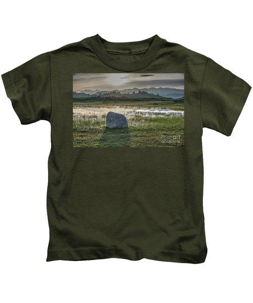 A Yellowstone Sunrise And Hazy Morning Ridges Kids T-Shirt