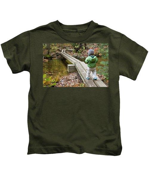 A Young Girl Walks Across Hiking Kids T-Shirt